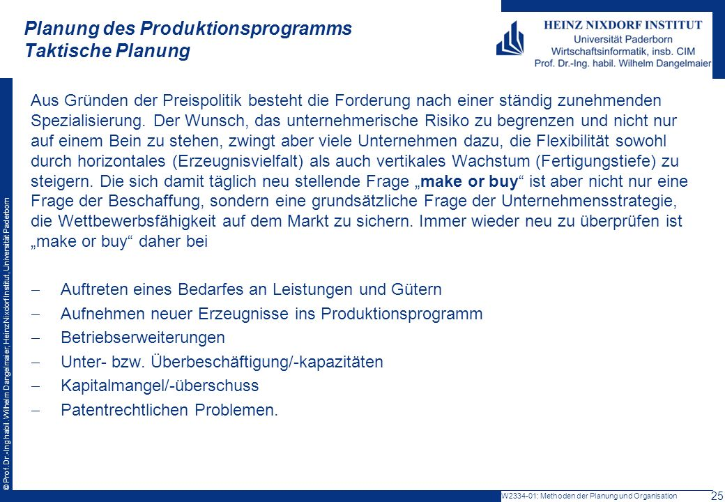 Planung des Produktionsprogramms Taktische Planung
