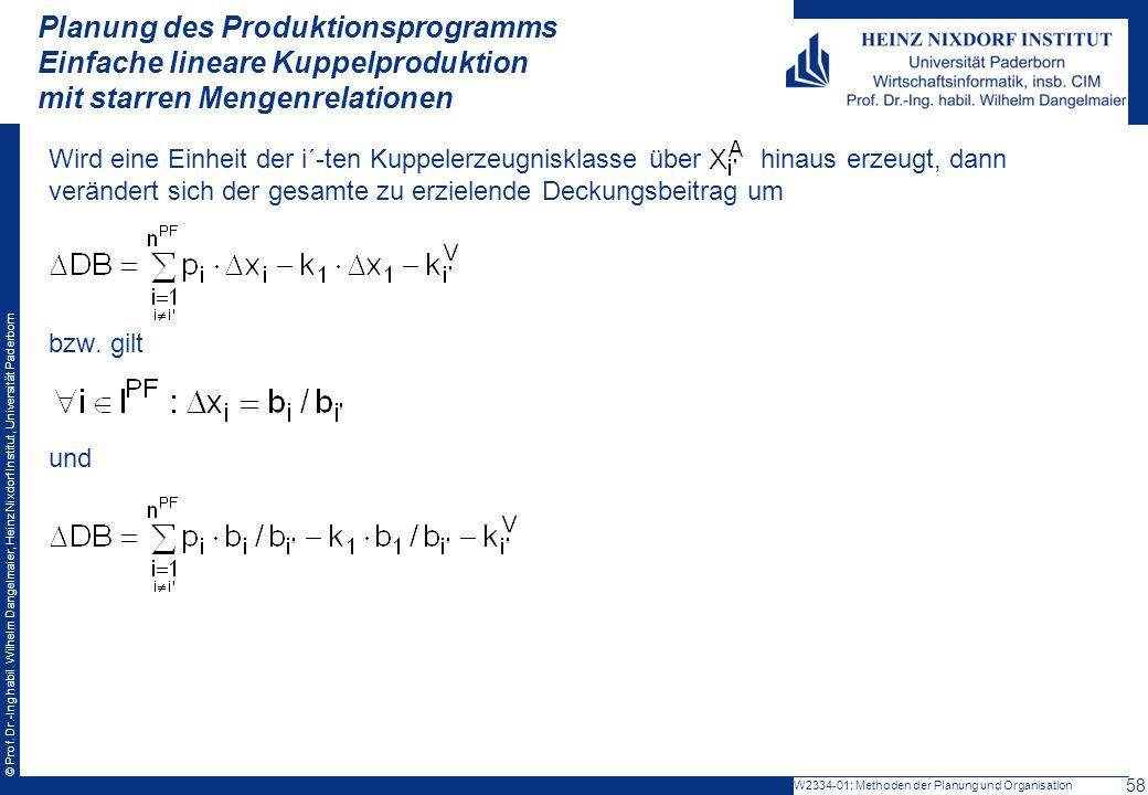 Planung des Produktionsprogramms Einfache lineare Kuppelproduktion mit starren Mengenrelationen