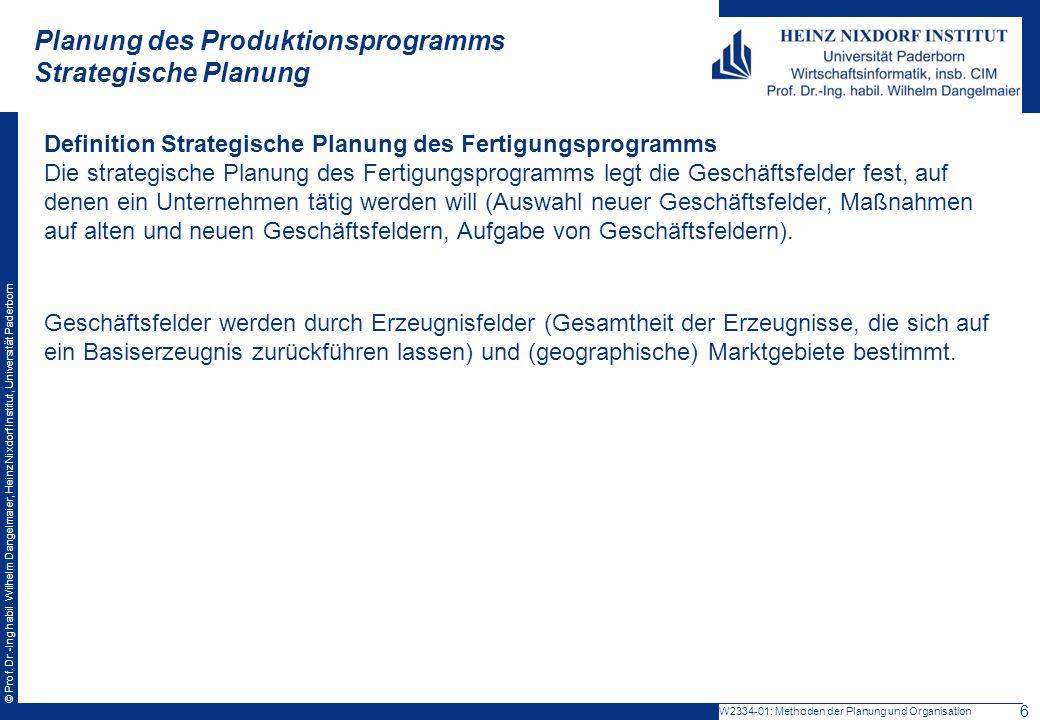Planung des Produktionsprogramms Strategische Planung