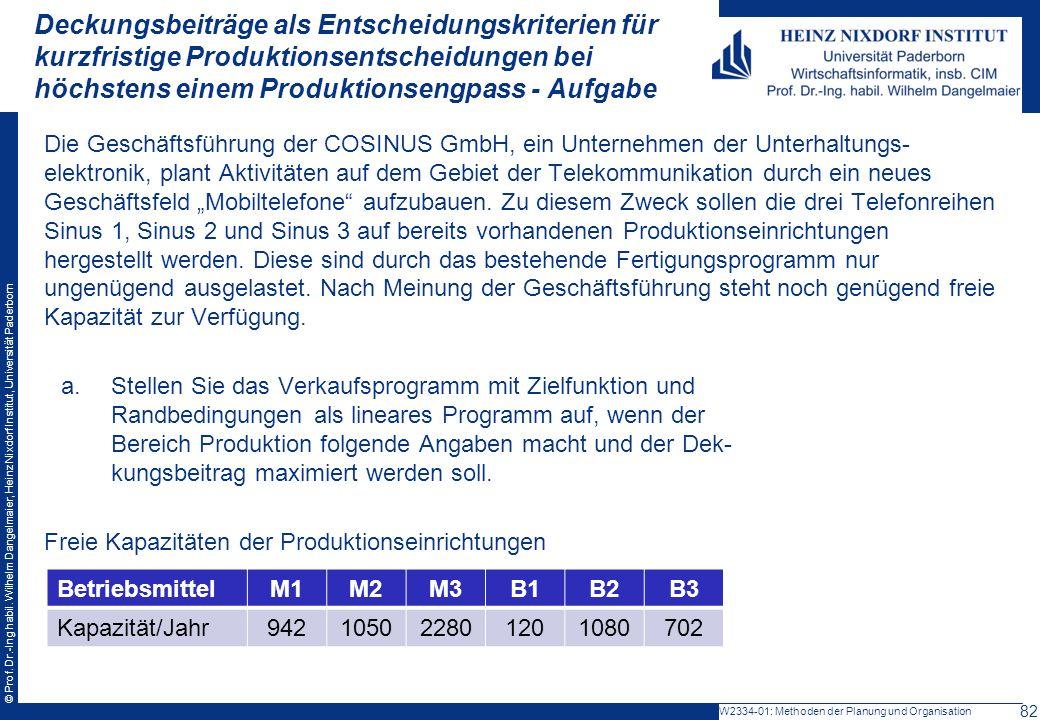 Deckungsbeiträge als Entscheidungskriterien für kurzfristige Produktionsentscheidungen bei höchstens einem Produktionsengpass - Aufgabe