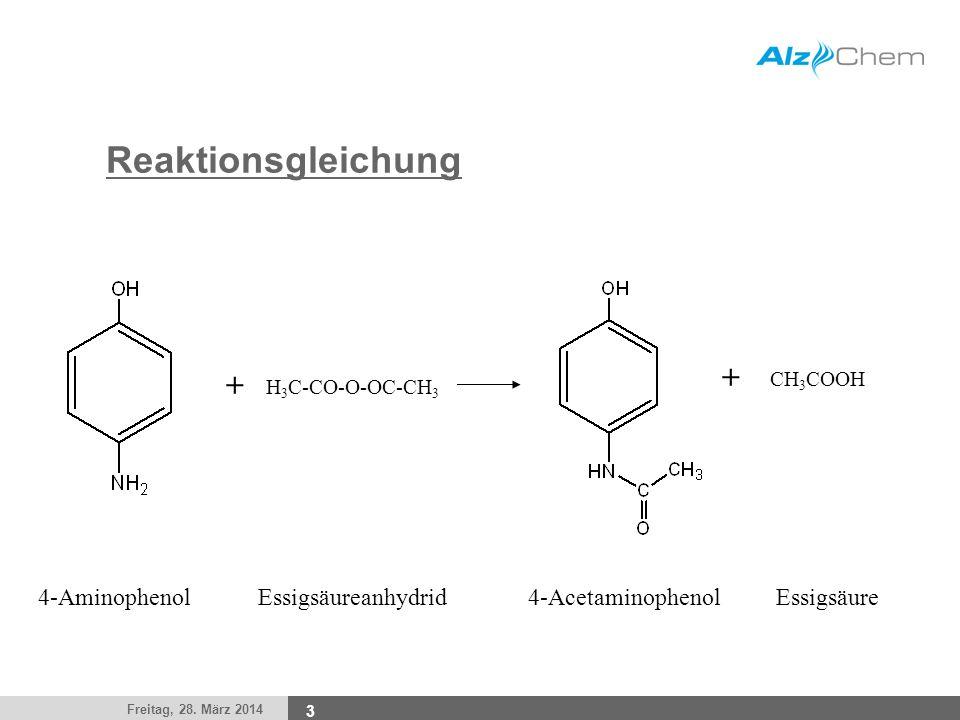 Reaktionsgleichung + + 4-Aminophenol Essigsäureanhydrid