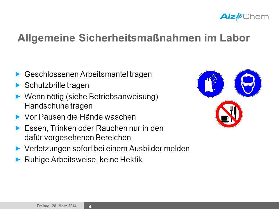 Allgemeine Sicherheitsmaßnahmen im Labor