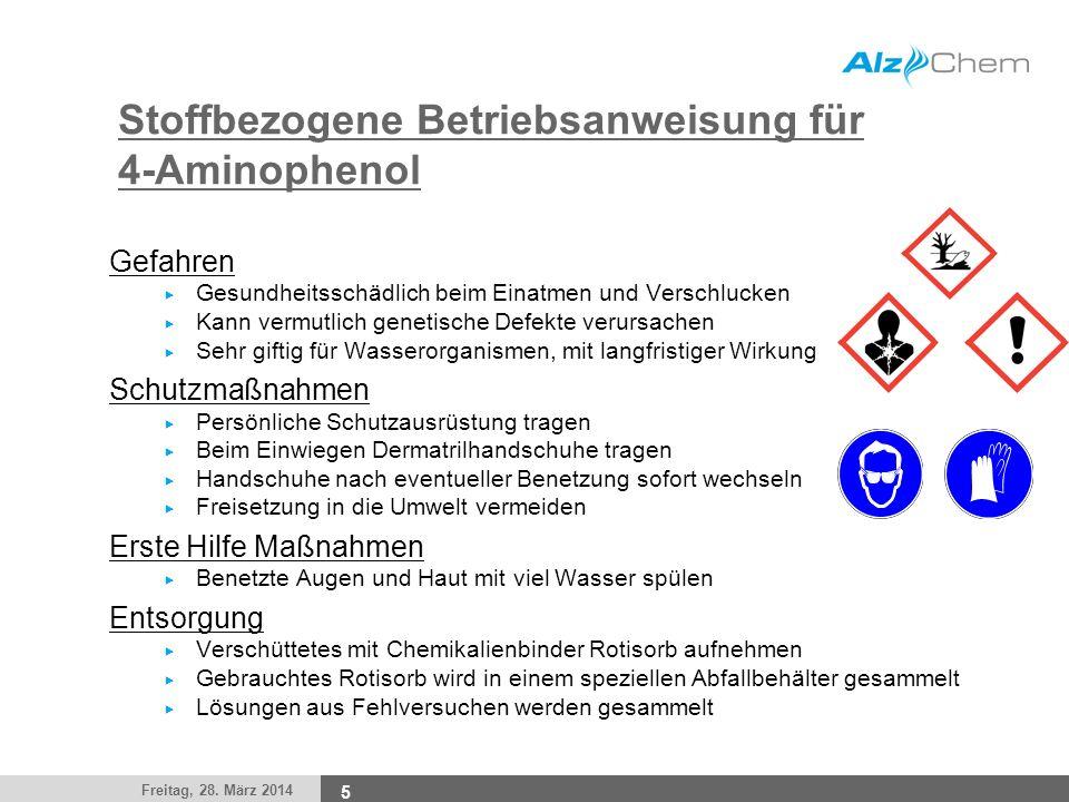 Stoffbezogene Betriebsanweisung für 4-Aminophenol