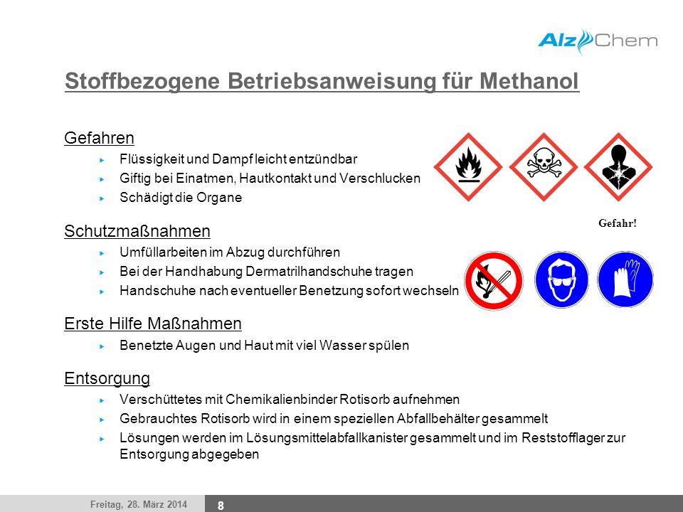 Stoffbezogene Betriebsanweisung für Methanol