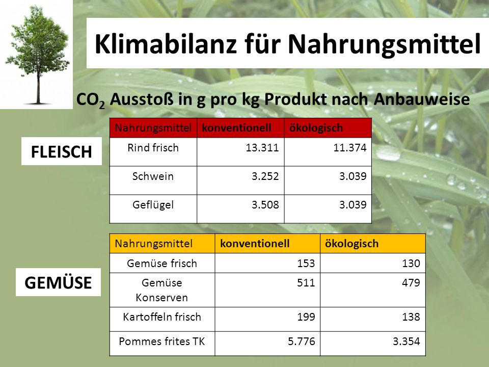 Klimabilanz für Nahrungsmittel