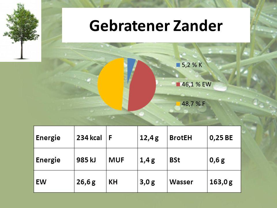 Gebratener Zander Energie 234 kcal F 12,4 g BrotEH 0,25 BE 985 kJ MUF
