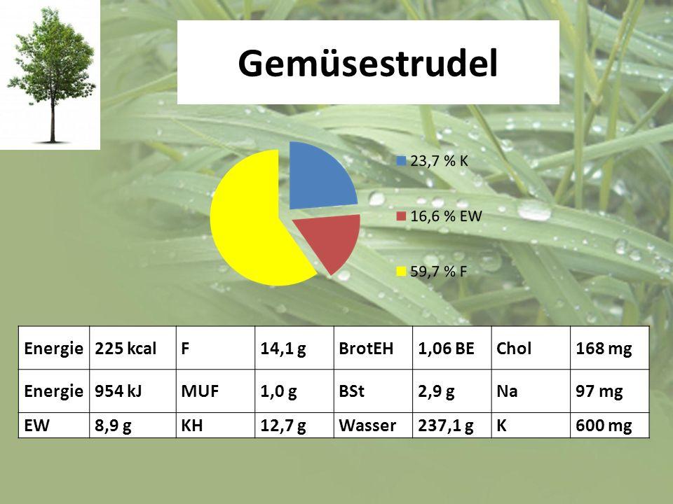 Gemüsestrudel Energie 225 kcal F 14,1 g BrotEH 1,06 BE Chol 168 mg