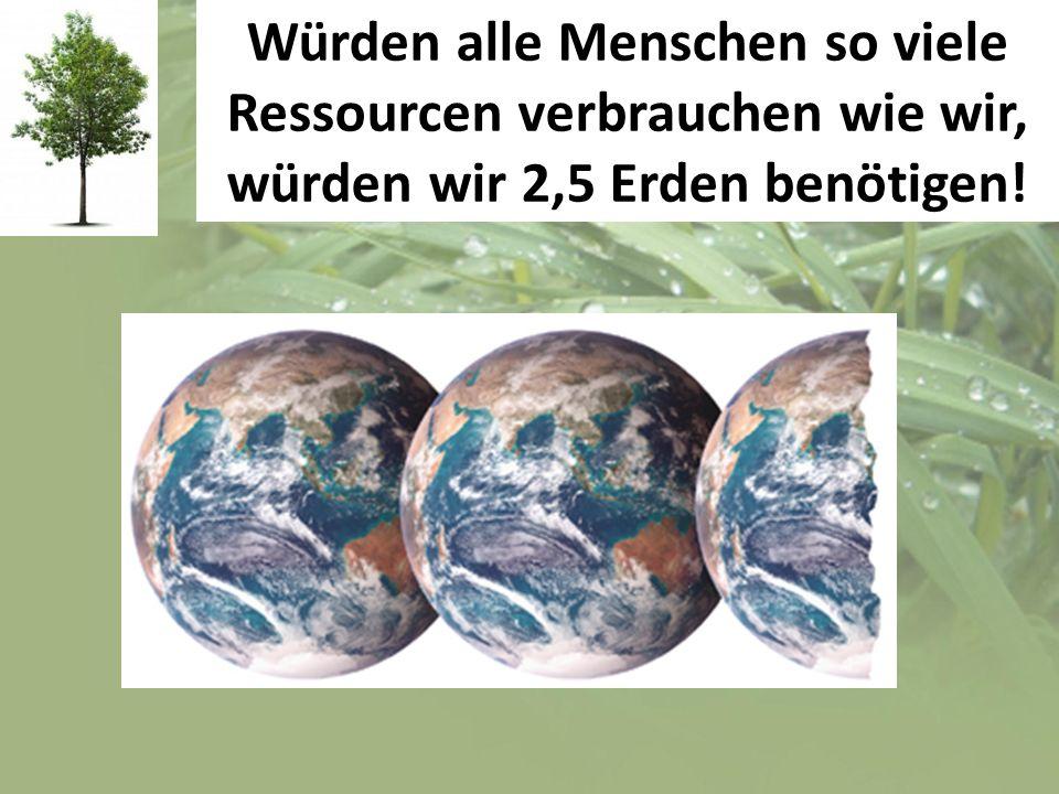 Würden alle Menschen so viele Ressourcen verbrauchen wie wir, würden wir 2,5 Erden benötigen!