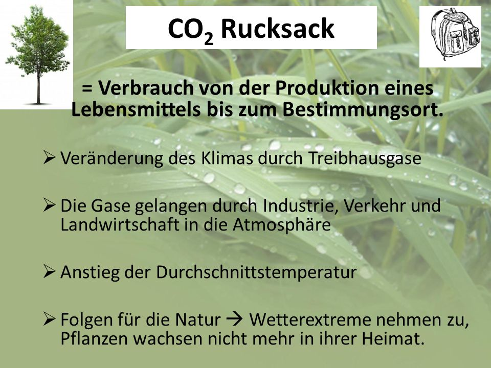 CO2 Rucksack = Verbrauch von der Produktion eines Lebensmittels bis zum Bestimmungsort. Veränderung des Klimas durch Treibhausgase.