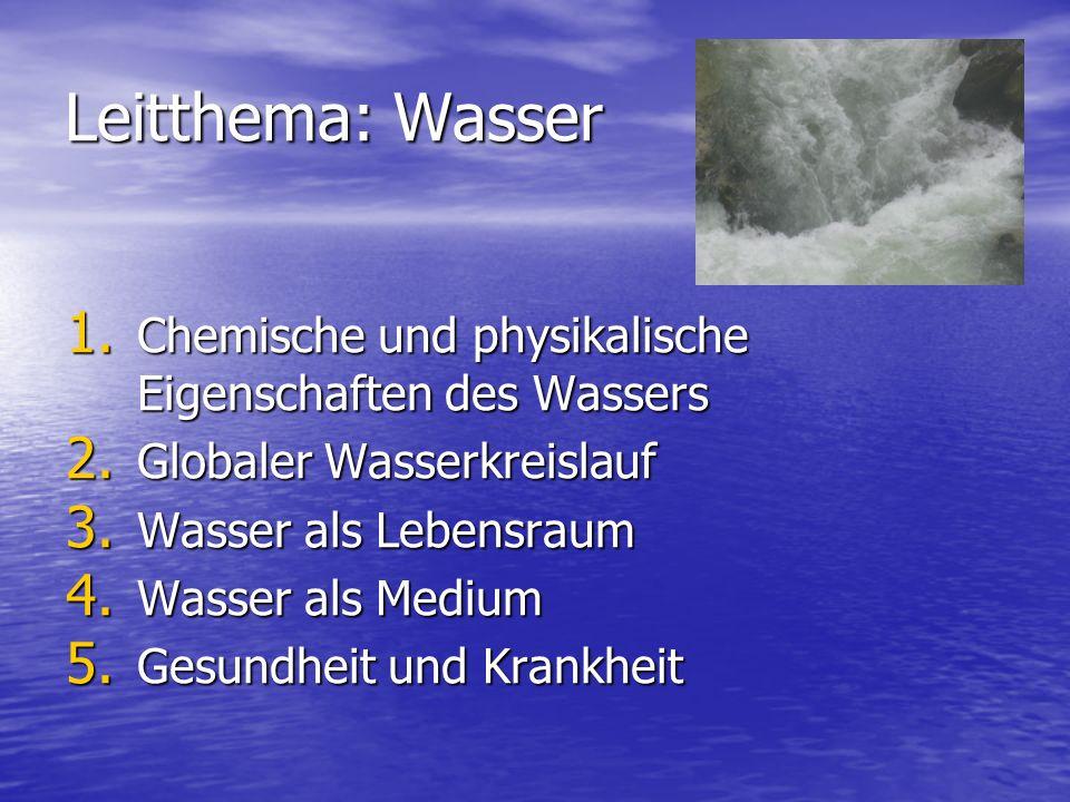 Leitthema: Wasser Chemische und physikalische Eigenschaften des Wassers. Globaler Wasserkreislauf.
