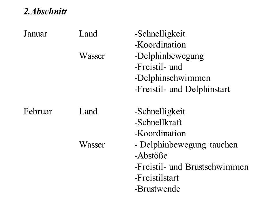 2. Abschnitt Januar. Land. -Schnelligkeit. -Koordination. Wasser