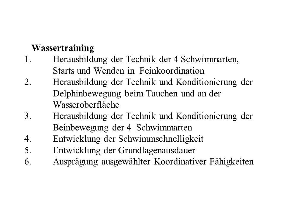 Wassertraining 1. Herausbildung der Technik der 4 Schwimmarten,