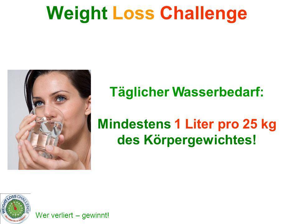 Weight Loss Challenge Täglicher Wasserbedarf: