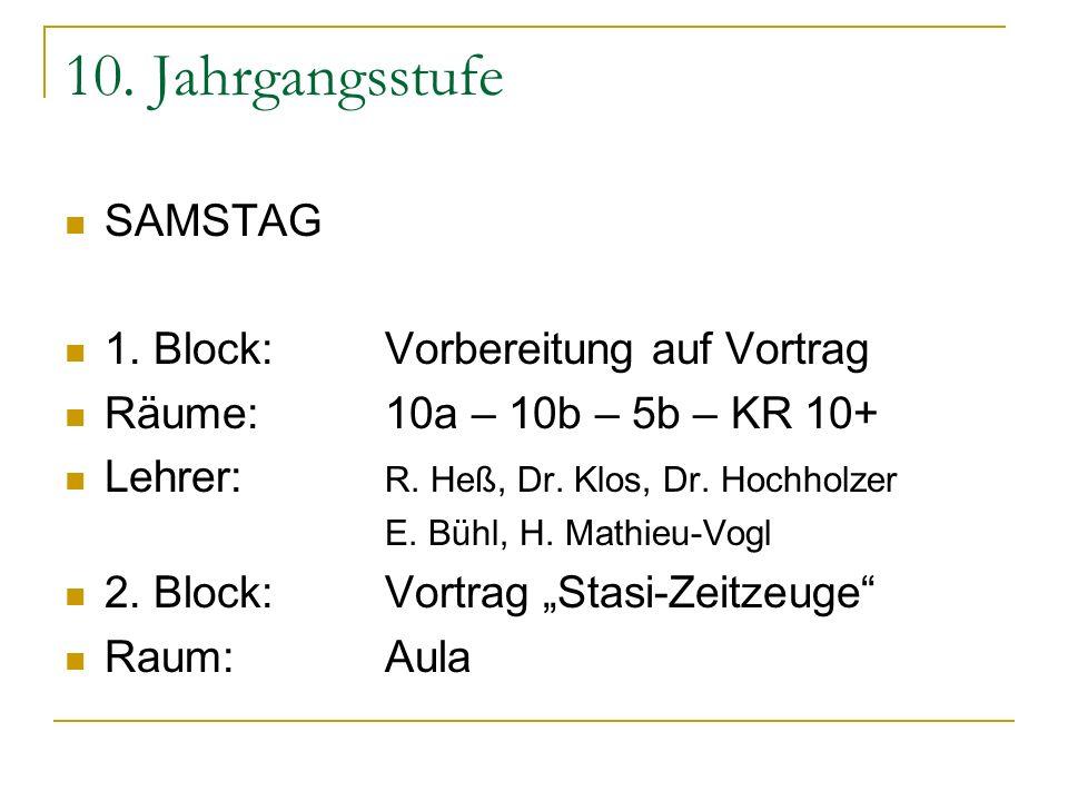 10. Jahrgangsstufe SAMSTAG 1. Block: Vorbereitung auf Vortrag