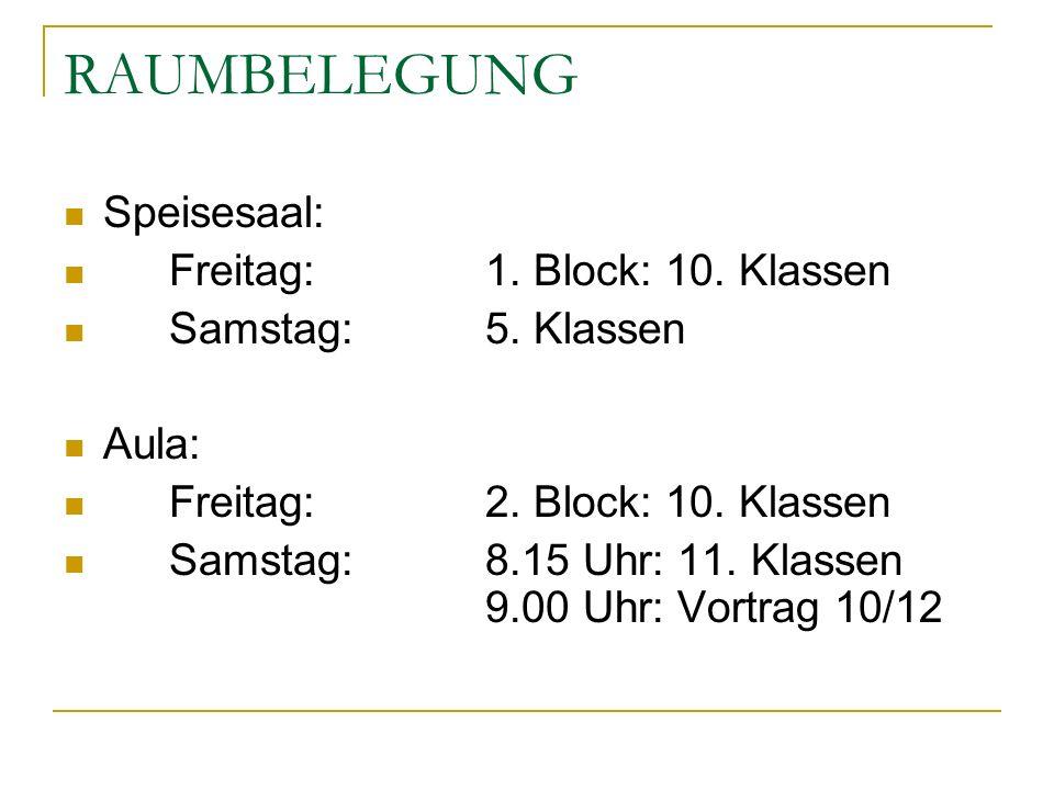RAUMBELEGUNG Speisesaal: Freitag: 1. Block: 10. Klassen