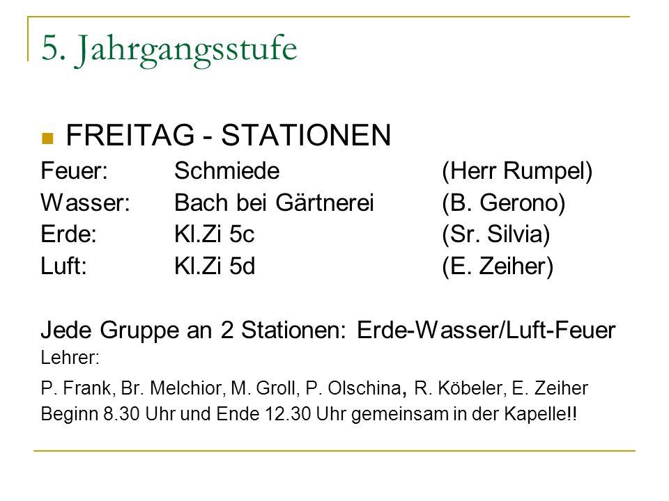 5. Jahrgangsstufe FREITAG - STATIONEN Feuer: Schmiede (Herr Rumpel)