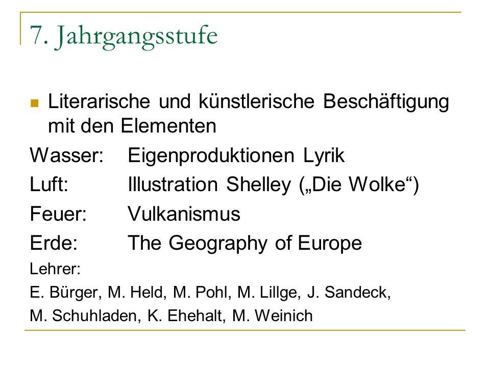 7. Jahrgangsstufe Literarische und künstlerische Beschäftigung mit den Elementen. Wasser: Eigenproduktionen Lyrik.
