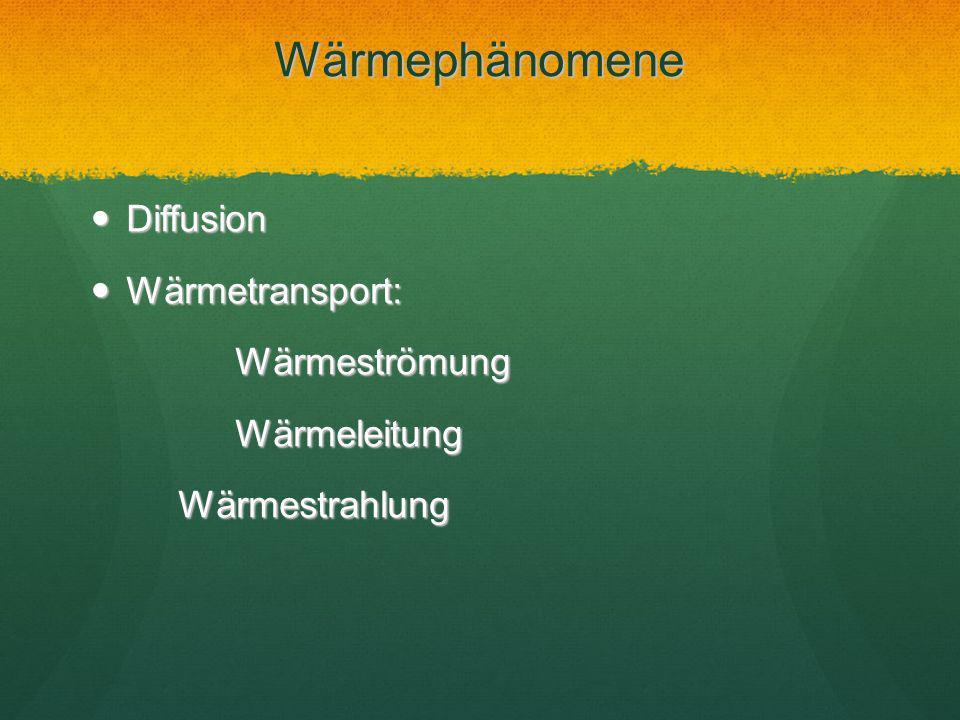 Wärmephänomene Diffusion Wärmetransport: Wärmeströmung Wärmeleitung