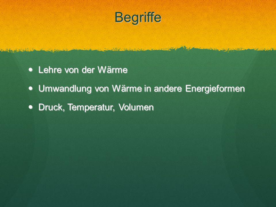 Begriffe Lehre von der Wärme