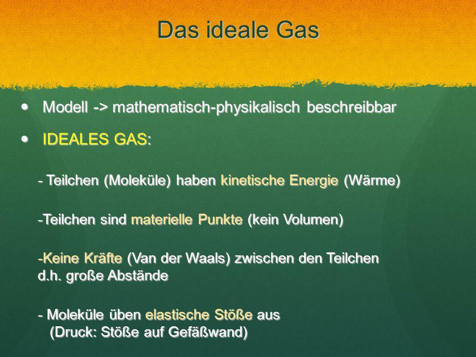 Das ideale Gas Modell -> mathematisch-physikalisch beschreibbar