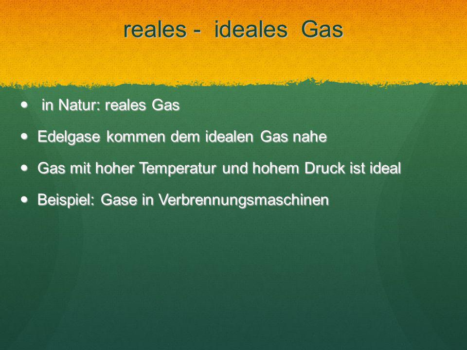 reales - ideales Gas in Natur: reales Gas