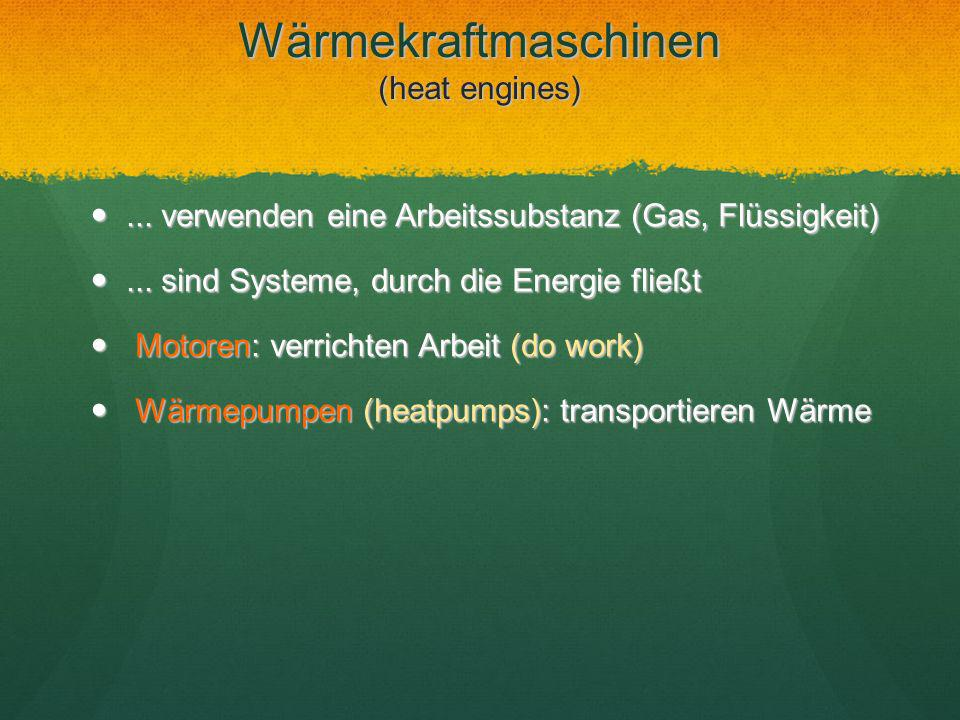 Wärmekraftmaschinen (heat engines)