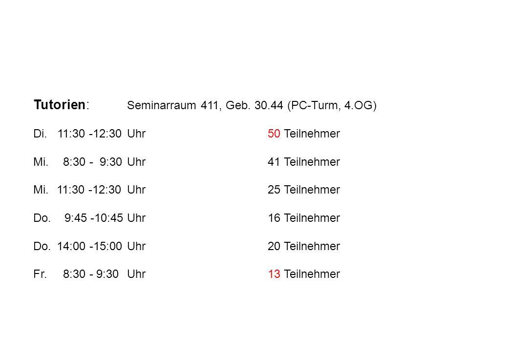 Tutorien: Seminarraum 411, Geb. 30.44 (PC-Turm, 4.OG)