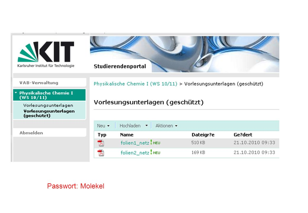 Passwort: Molekel