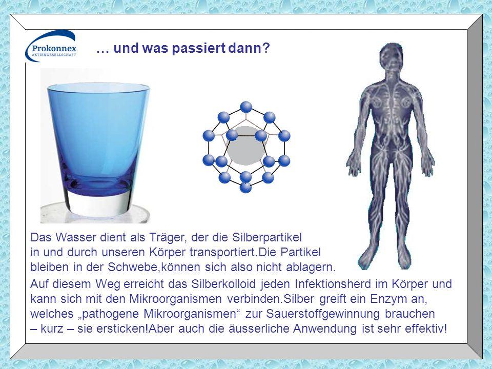… und was passiert dann Das Wasser dient als Träger, der die Silberpartikel. in und durch unseren Körper transportiert.Die Partikel.