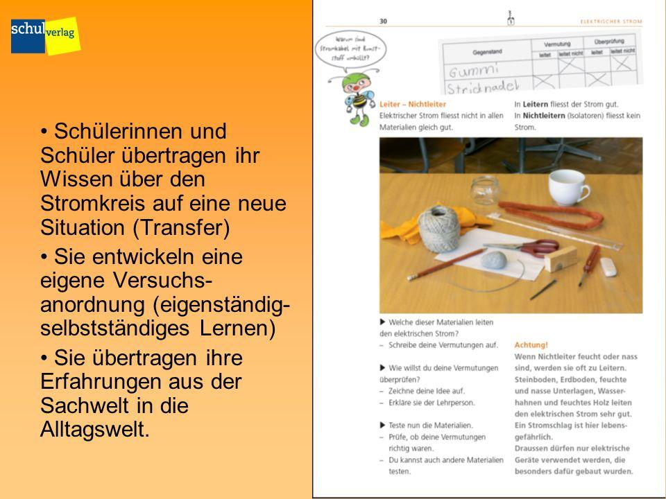 Schülerinnen und Schüler übertragen ihr Wissen über den Stromkreis auf eine neue Situation (Transfer)