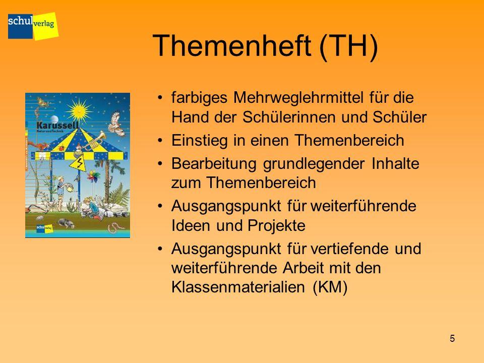Themenheft (TH) farbiges Mehrweglehrmittel für die Hand der Schülerinnen und Schüler. Einstieg in einen Themenbereich.