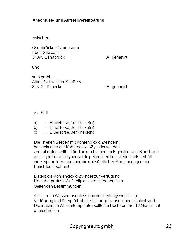 Copyright suto gmbh Anschluss- und Aufstellvereinbarung zwischen