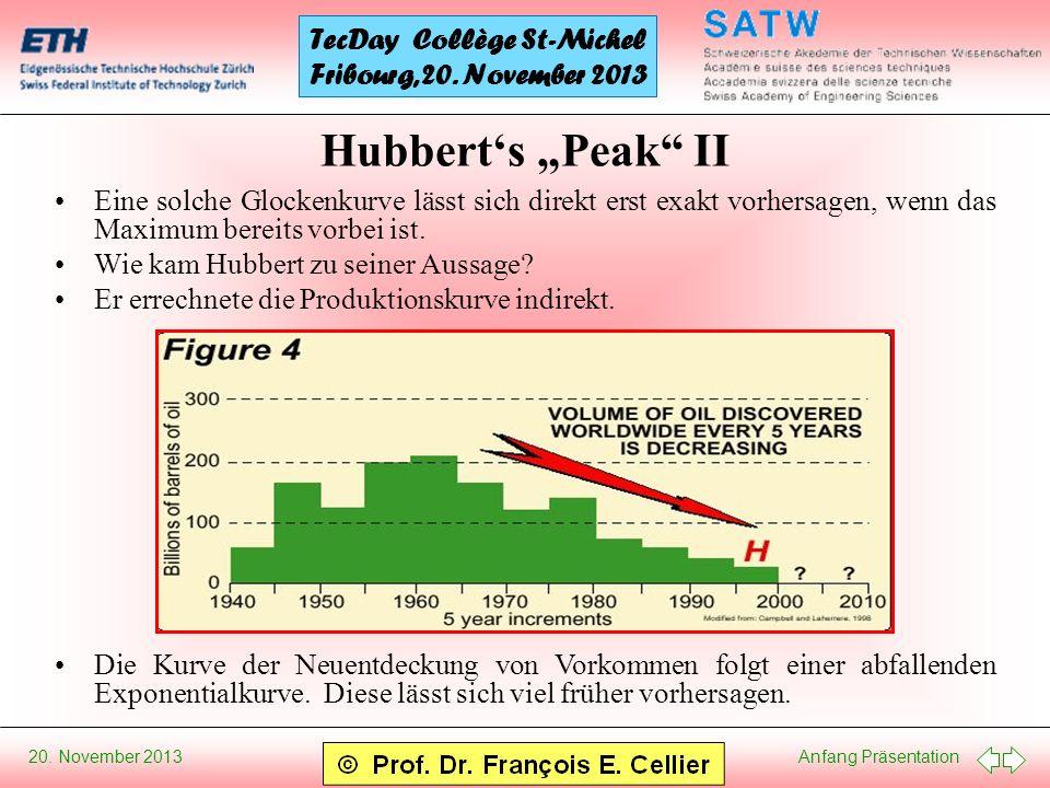 """Hubbert's """"Peak II Eine solche Glockenkurve lässt sich direkt erst exakt vorhersagen, wenn das Maximum bereits vorbei ist."""