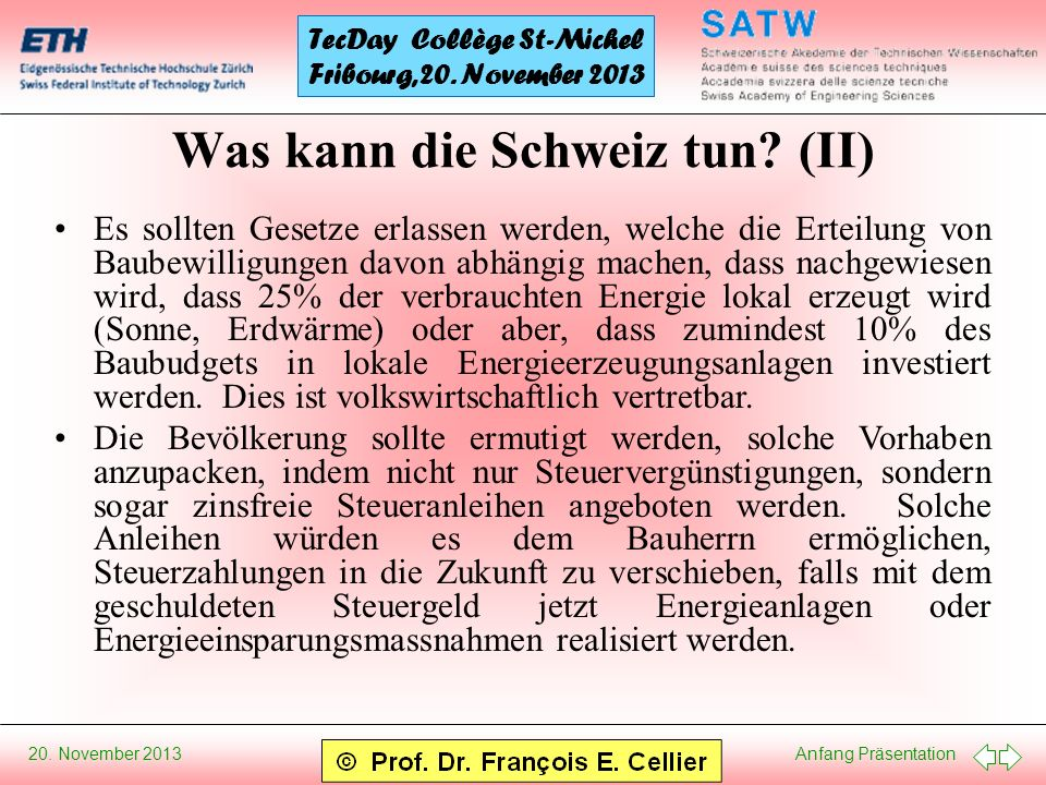 Was kann die Schweiz tun (II)
