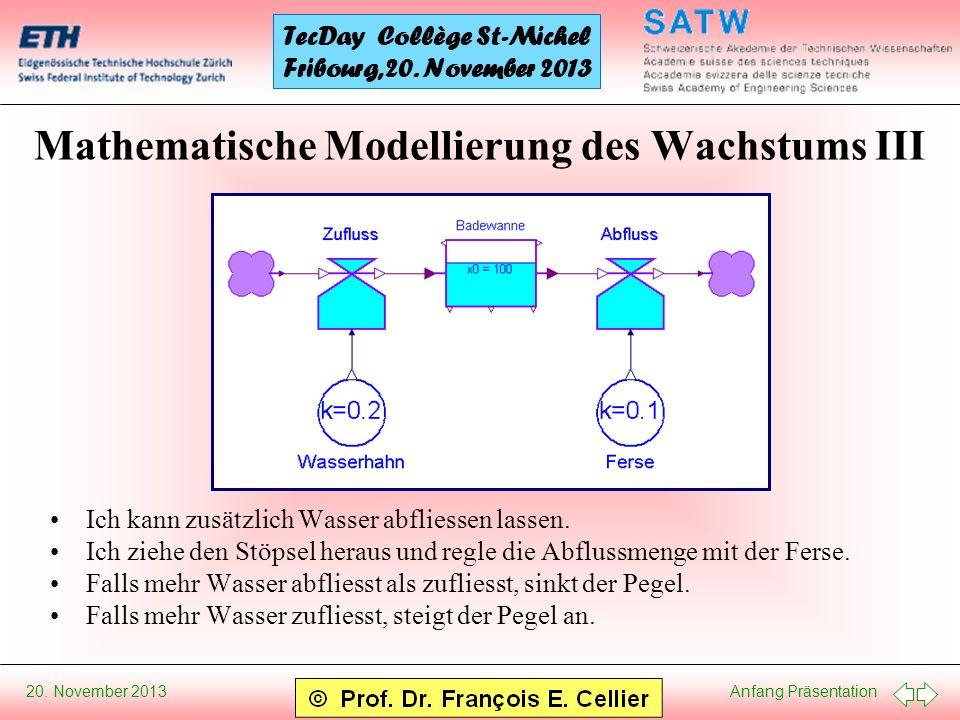 Mathematische Modellierung des Wachstums III