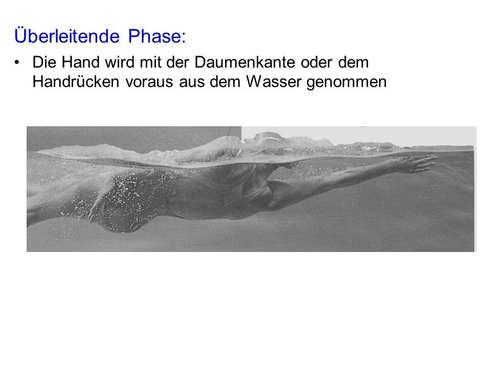 Überleitende Phase: Die Hand wird mit der Daumenkante oder dem Handrücken voraus aus dem Wasser genommen.