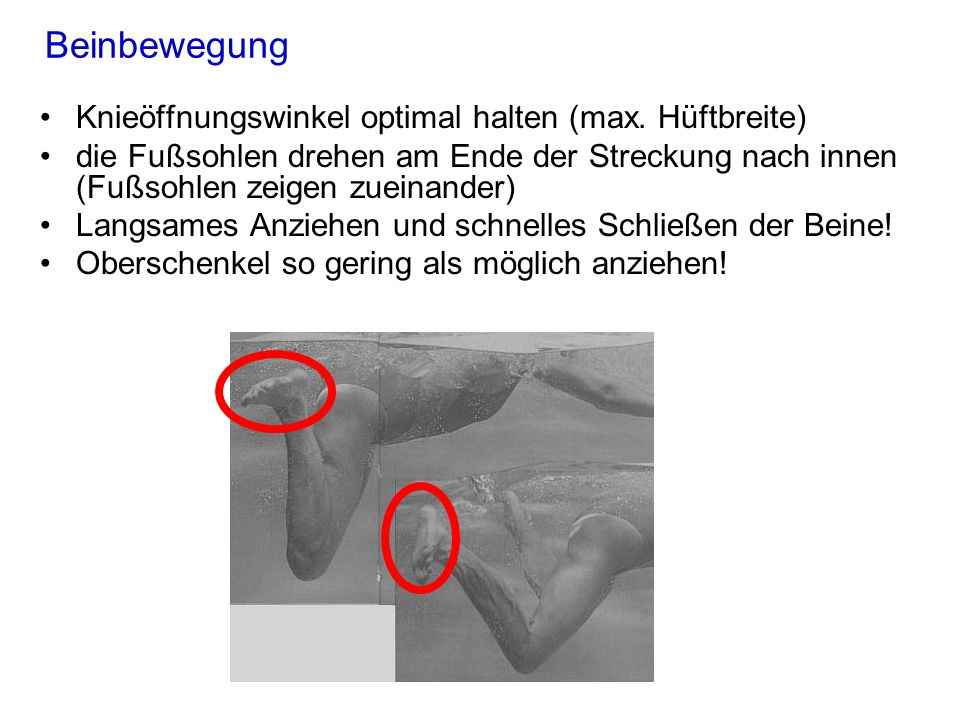 Beinbewegung Knieöffnungswinkel optimal halten (max. Hüftbreite)