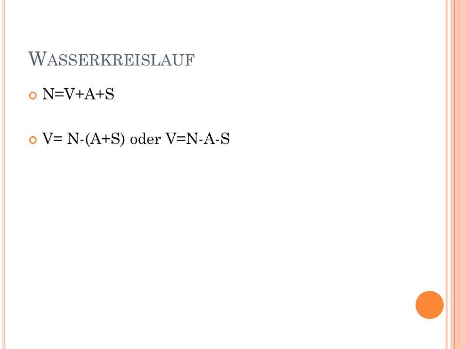 Wasserkreislauf N=V+A+S V= N-(A+S) oder V=N-A-S