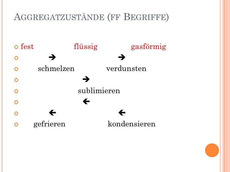 Aggregatzustände (ff Begriffe)