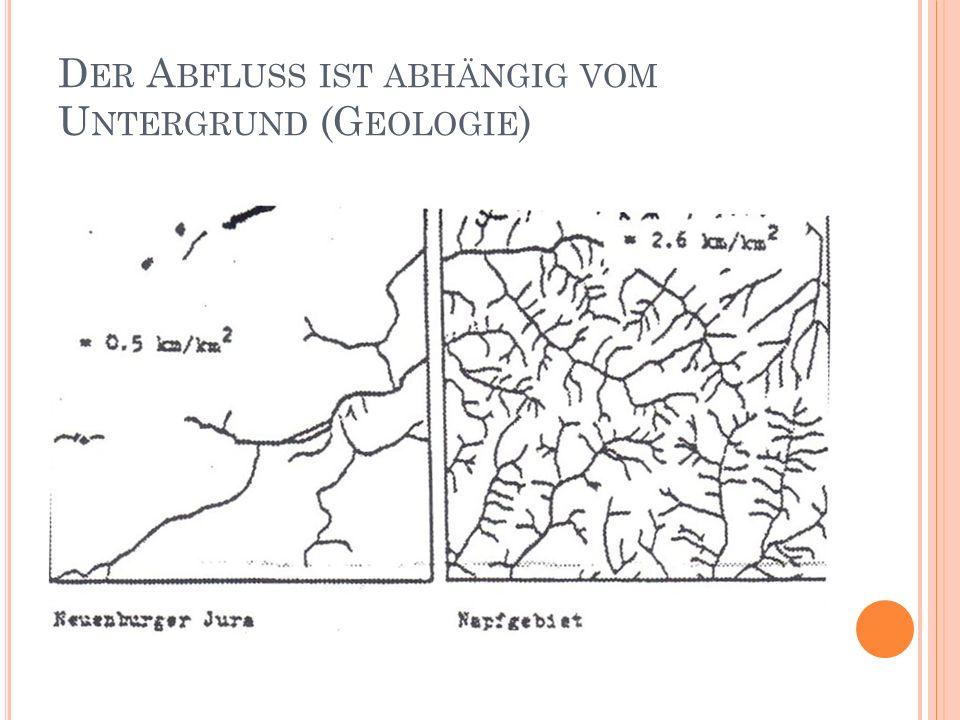 Der Abfluss ist abhängig vom Untergrund (Geologie)