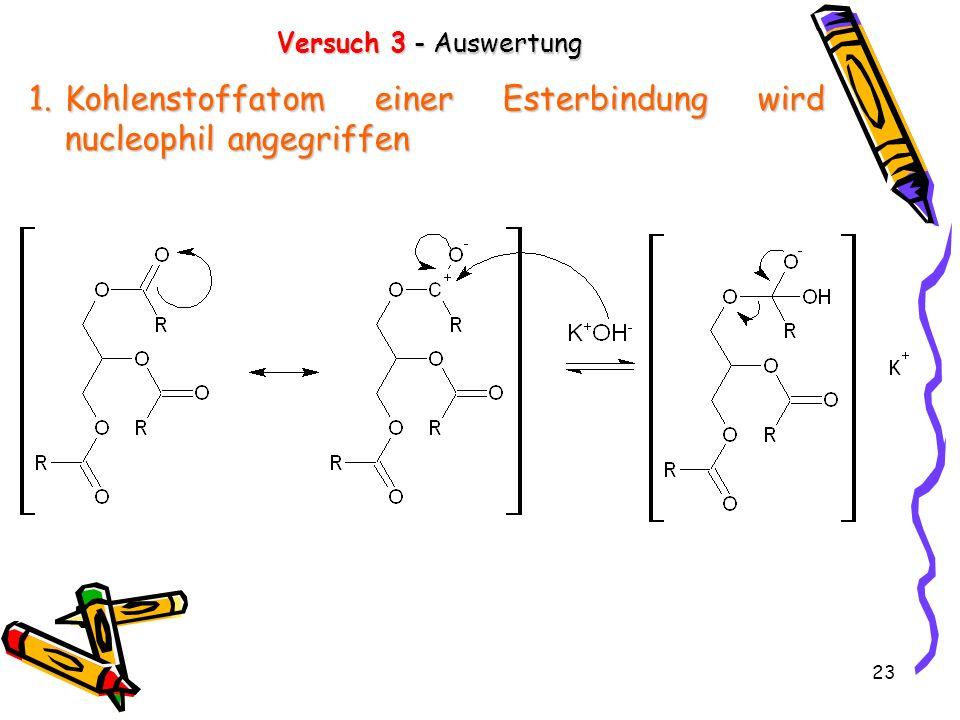 Kohlenstoffatom einer Esterbindung wird nucleophil angegriffen