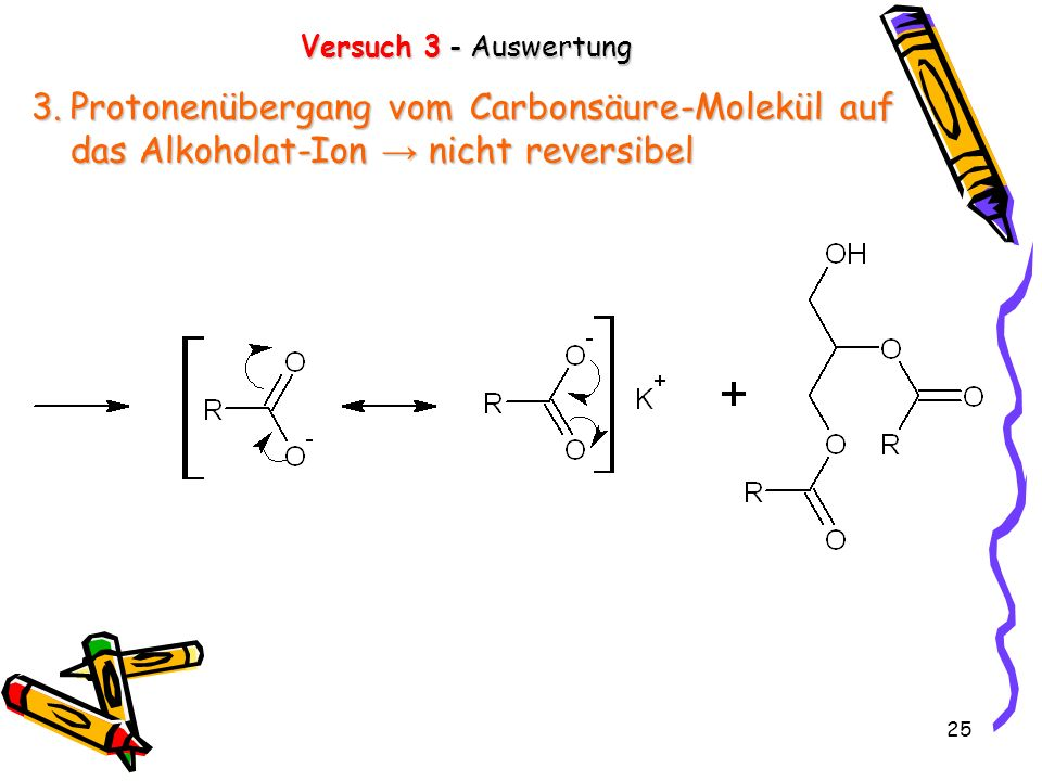 Versuch 3 - Auswertung Protonenübergang vom Carbonsäure-Molekül auf das Alkoholat-Ion → nicht reversibel.