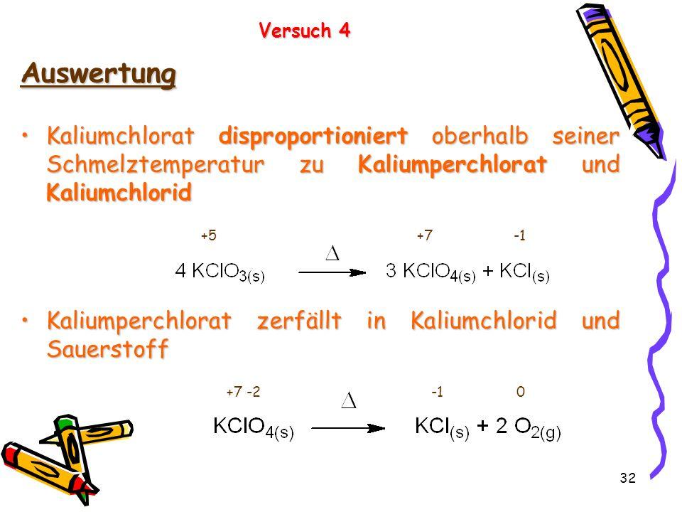 Versuch 4 Auswertung. Kaliumchlorat disproportioniert oberhalb seiner Schmelztemperatur zu Kaliumperchlorat und Kaliumchlorid.