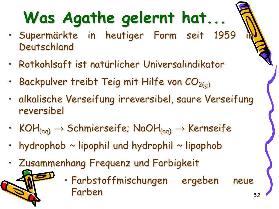Was Agathe gelernt hat... Supermärkte in heutiger Form seit 1959 in Deutschland. Rotkohlsaft ist natürlicher Universalindikator.