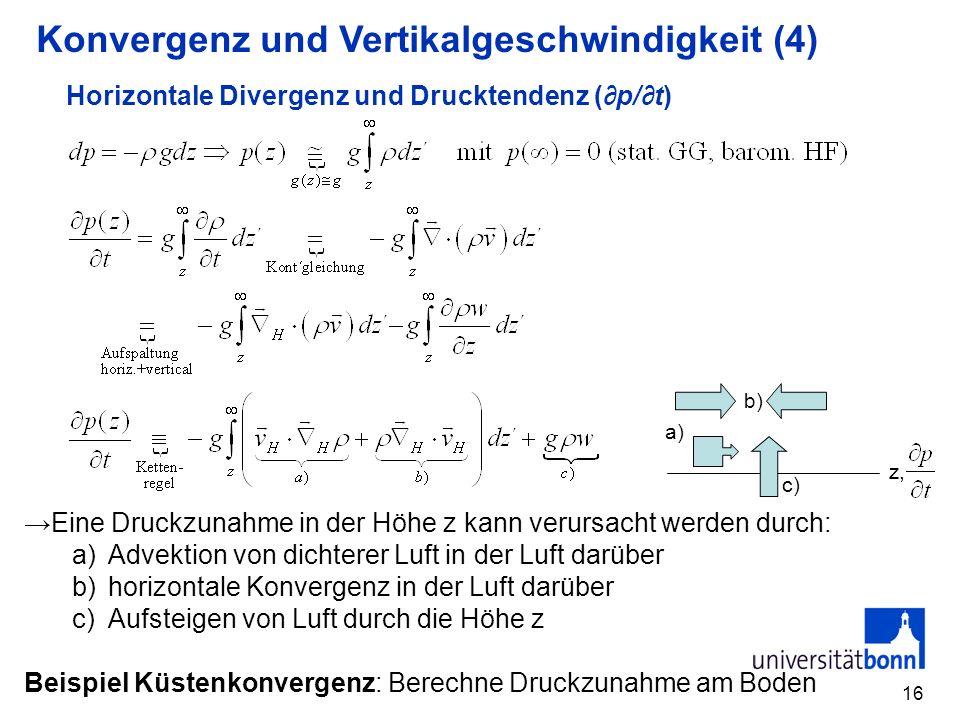 Horizontale Divergenz und Drucktendenz (∂p/∂t)