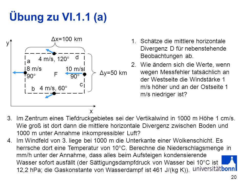 Übung zu VI.1.1 (a) x y F a b c d Δx=100 km Δy=50 km 4 m/s, 60° 10 m/s