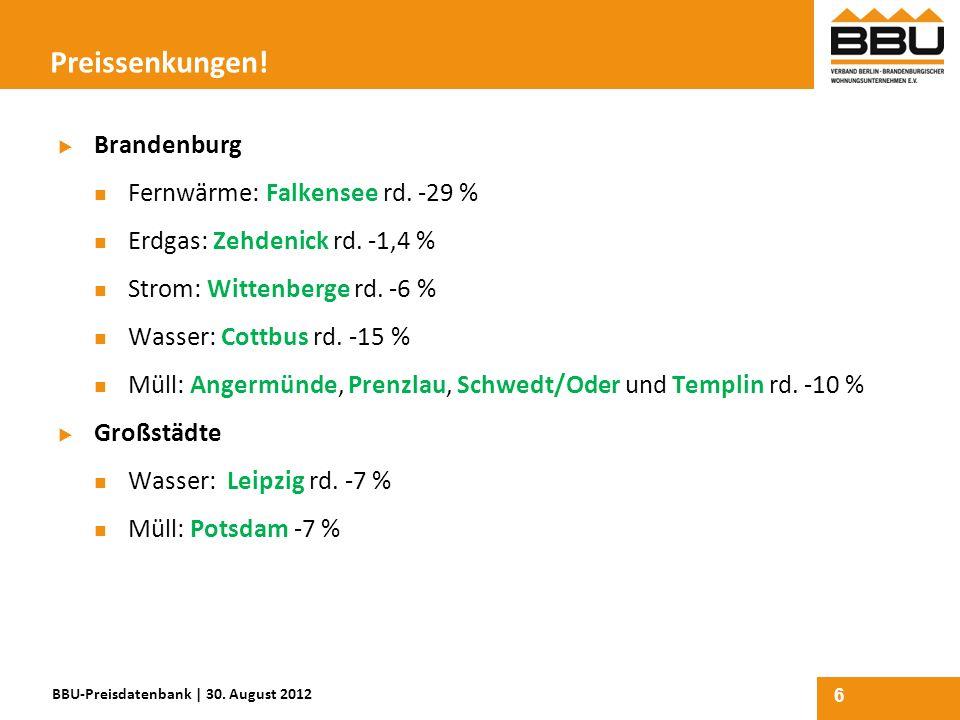 Preissenkungen! Brandenburg Fernwärme: Falkensee rd. -29 %