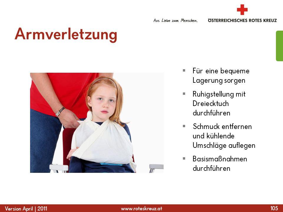 Armverletzung Für eine bequeme Lagerung sorgen