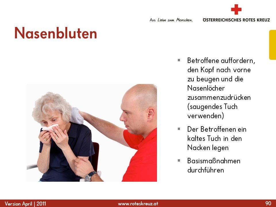 NasenblutenBetroffene auffordern, den Kopf nach vorne zu beugen und die Nasenlöcher zusammenzudrücken (saugendes Tuch verwenden)