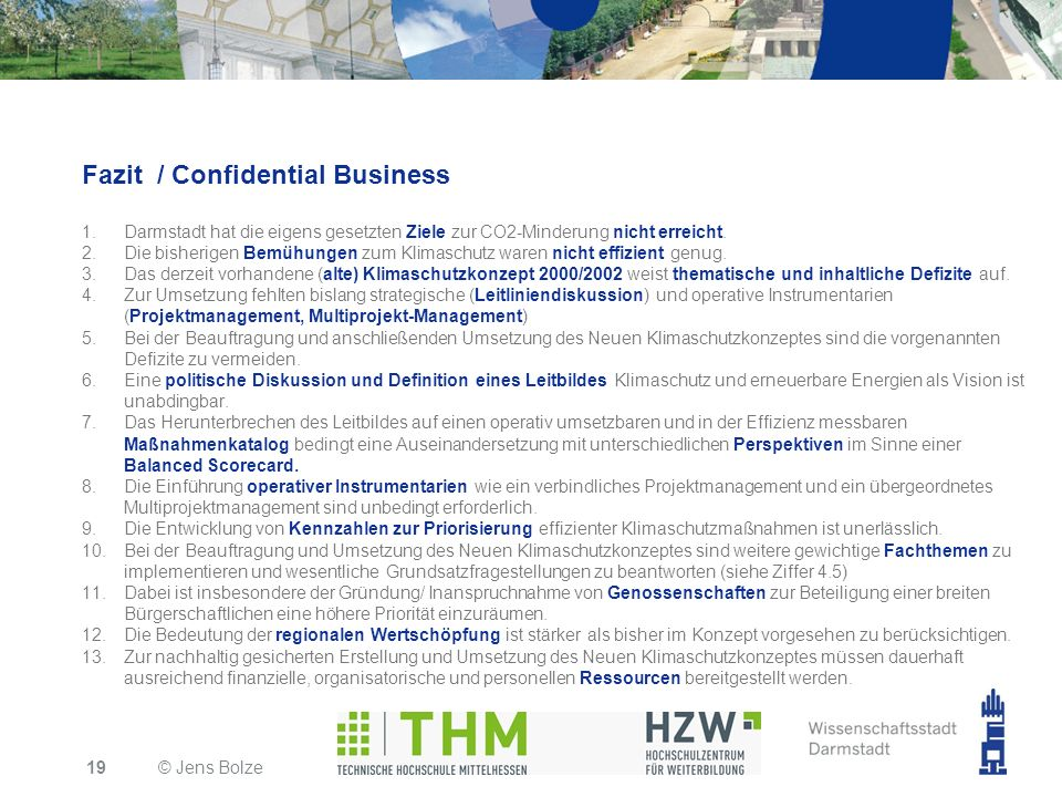 Fazit / Confidential Business